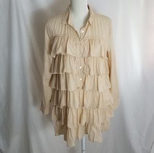 J Crew Swann Ruffles Shirt Dress
